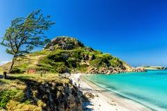Feiner weißer Sand, Palmen und Türkiswasser Lizenzfreies Stockbild