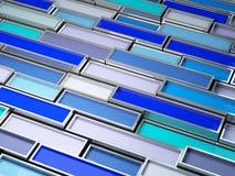 Feines Bild 3d des Chrombeckens mit blauem Lack Stockbild