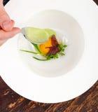 Feines Speisen, poschiertes Ei mit Spinatssoße und Truffel Stockbild