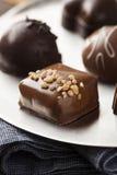 Feinschmeckerische fantastische dunkle Schokoladen-Trüffel-Süßigkeit Stockfotos