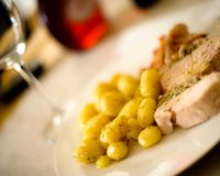 Feinschmeckerische Mahlzeit, Barcelona stockfoto