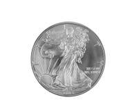 Feinsilber-Dollar auf Weiß Stockfotografie