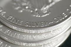 Feinsilber (Wörter) von US-Silber Eagle Coin Lizenzfreies Stockfoto
