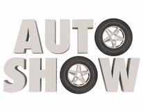 A feira automóvel 3d exprime o evento do veículo do carro dos pneus das rodas Fotografia de Stock Royalty Free