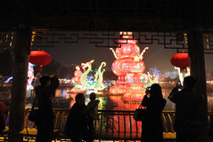 Feira chinesa do templo do ano 2014 novo e festival de lanterna Imagens de Stock Royalty Free