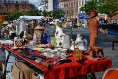 Feira da ladra em Bruxelas, Bélgica Foto de Stock Royalty Free