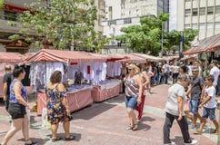 Feira da Liberdade, Sao Paulo SP Brazil. Sao Paulo SP, Brazil - March 03, 2019: People at the street market known as Feira da Liberdade liberty fair or Japanese stock photo