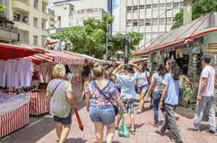 Feira da Liberdade, Sao Paulo SP Brazil. Sao Paulo SP, Brazil - March 03, 2019: People at the street market known as Feira da Liberdade liberty fair or Japanese stock photos