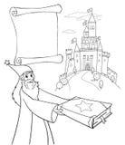 Feiticeiro da coloração com livro mágico Imagens de Stock Royalty Free