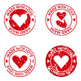 Feito com amor e grupo feito à mão do conceito dos selos para o uso no desig ilustração royalty free