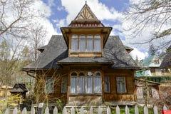 Feito da casa de campo de madeira Stokrotka em Zakopane Imagem de Stock