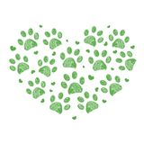 Feito do coração com fundo verde da cópia da pata Fotografia de Stock Royalty Free