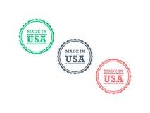 Feito do grunge americano do produto dos EUA no sinal retro do selo do crachá do estilo do moderno do vintage Fotos de Stock Royalty Free