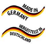 Feito em Alemanha com etiqueta alemão da qualidade da bandeira no fundo branco Fotos de Stock