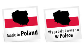 Feito em Alemanha com etiqueta alemão da qualidade da bandeira no fundo branco Fotografia de Stock Royalty Free