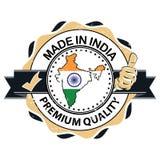Feito em India Qualidade superior Selo imprimível com o mapa indiano incluído ilustração stock