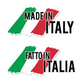Feito em Itália com etiqueta italiana da qualidade da bandeira no fundo branco Imagens de Stock