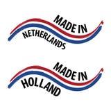 Feito em Países Baixos com etiqueta da qualidade da bandeira no fundo branco Imagens de Stock Royalty Free