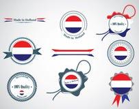Feito em Países Baixos - grupo de selos, crachás Fotografia de Stock