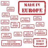 Feito em selos de Europa Fotografia de Stock Royalty Free
