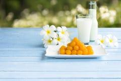 Feito a mão original da sobremesa tailandesa Ovos e açúcar usados Sobremesa ou alimento do fundo Imagens de Stock