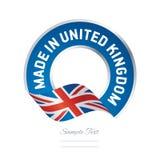 Feito na bandeira azul do botão da etiqueta da cor da bandeira de Reino Unido ilustração stock