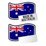 Feito na bandeira de Austrália e no papel vazio branco ilustração do vetor