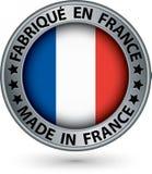 Feito na etiqueta da prata de França com bandeira, ilustração do vetor Imagem de Stock
