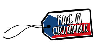 Feito na etiqueta de República Checa Fotografia de Stock