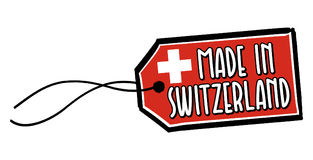Feito na etiqueta de Suíça Imagem de Stock