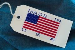 Feito na etiqueta do papel dos EUA fotografia de stock
