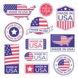 Feito na etiqueta dos EUA O selo orgulhoso da bandeira americana, feito para etiquetas ícone e fabricação dos EUA no stocker de A ilustração royalty free
