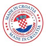 Feito na etiqueta imprimível do grunge da Croácia com bandeira ilustração stock