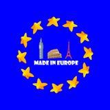 Feito na ilustração de Europa, bandeira, etiqueta, emblema Foto de Stock