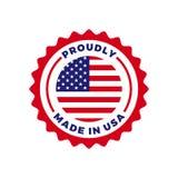 Feito no ícone americano do selo do vetor da bandeira da qualidade dos EUA ilustração do vetor