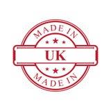 Feito no ícone BRITÂNICO da etiqueta com o emblema da cor vermelha no fundo branco ilustração royalty free