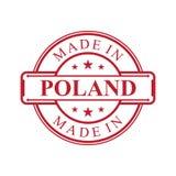 Feito no ?cone da etiqueta do Pol?nia com o emblema da cor vermelha no fundo branco ilustração stock