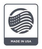 feito no ícone dos EUA no estilo na moda do projeto feito no ícone dos EUA isolado no fundo branco feito no ícone do vetor dos EU ilustração royalty free