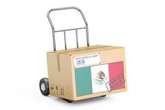 Feito no conceito de México Caminhão da caixa de cartão disponível, renderin 3D Imagem de Stock
