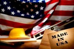 Feito no estêncil dos EUA no canteiro de obras americano Imagens de Stock Royalty Free