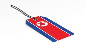 Feito no preço da Coreia do Norte com bandeira nacional Foto de Stock Royalty Free