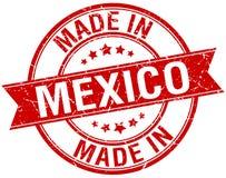 feito no selo vermelho do vintage de México ilustração stock