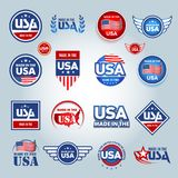 Feito nos ícones dos EUA Americano feito Grupo de ícones do vetor, selos, selos, bandeiras, etiquetas, logotipos, crachás Ilustra ilustração stock