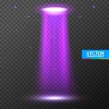Feixe luminoso do UFO Luz brilhante futurista do transporte estrangeiro na obscuridade em transparente Projeto do efeito do fulgo ilustração do vetor