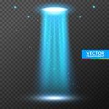 Feixe luminoso do UFO Luz brilhante futurista do transporte estrangeiro na obscuridade em transparente Projeto isolado nave espac ilustração stock
