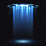 Feixe luminoso do UFO, nave espacial futurista dos estrangeiros na ilustração quadriculado transparente do vetor do fundo ilustração do vetor
