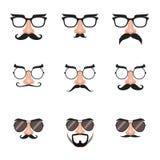 Fejka näs- och exponeringsglasuppsättningen med mustaschen och ögonbryn Arkivbilder