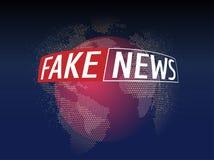 Fejka nyheterna direkt på världskartabakgrund Affärsteknologi fejkar nyheternabakgrund också vektor för coreldrawillustration Arkivfoton