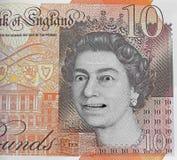 Fejka pengar för tio pund anmärkningsvaluta royaltyfri fotografi
