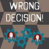 Fel beslut för handskrifttext Begrepp som betyder handling eller att föra att tillfoga skada utan förfallen affär för provokation stock illustrationer